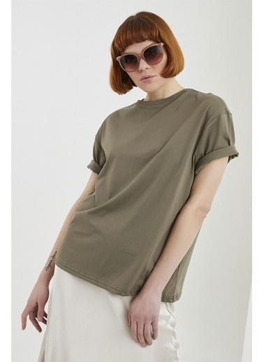 Z Giyim Pamuklu Yuvarlak Yaka Salaş T-shirt Haki